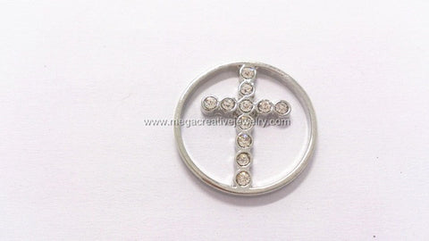 LARGE SILVER CROSS WINDOW PLATE fits magnetic memory lockets 30mm