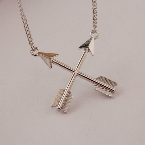Cross Bows and Arrows Pendant Necklace