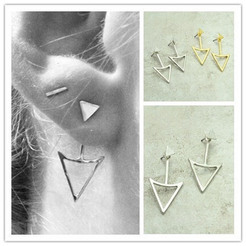 Triangle Double Side Stud Earrings