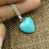 "Trendy Turquoise Heart Necklace on 18"" Silver Chain with 2"" extender"