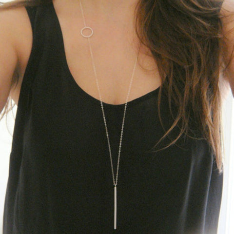 "Simple Loop and Stick 40"" long Water Drop minimalist necklace"