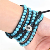Multilayer Wrap 6mm Natural Turquoise Woven Leather Bracelet