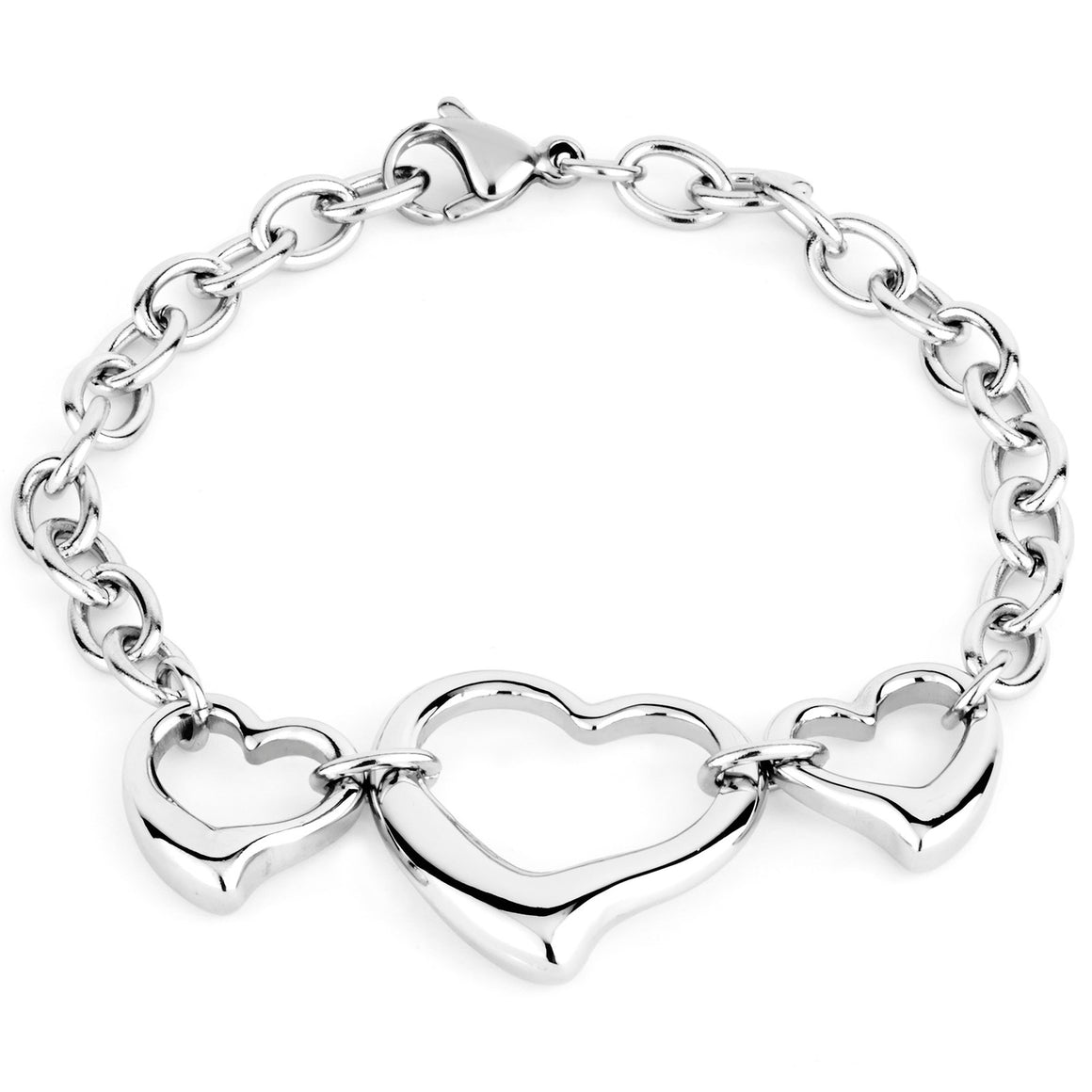 ELYA Women's High Polished Three Linked Open Hearts Chain Stainless Steel Bracelet