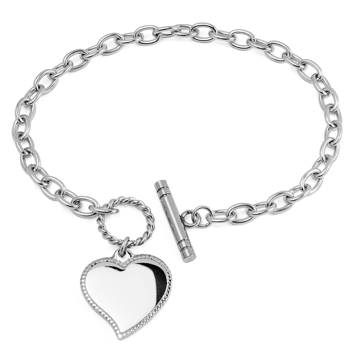 ELYA Women's Polished Heart Charm Cable Chain Link Stainless Steel Bracelet
