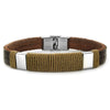 Crucible Stainless Steel Accent Twisted Rope Brown Leather Bracelet (11 mm) - 8.25""
