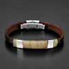 Crucible Stainless Steel Accent Twisted Rope Brown Leather Bracelet (11 mm) - 8.25