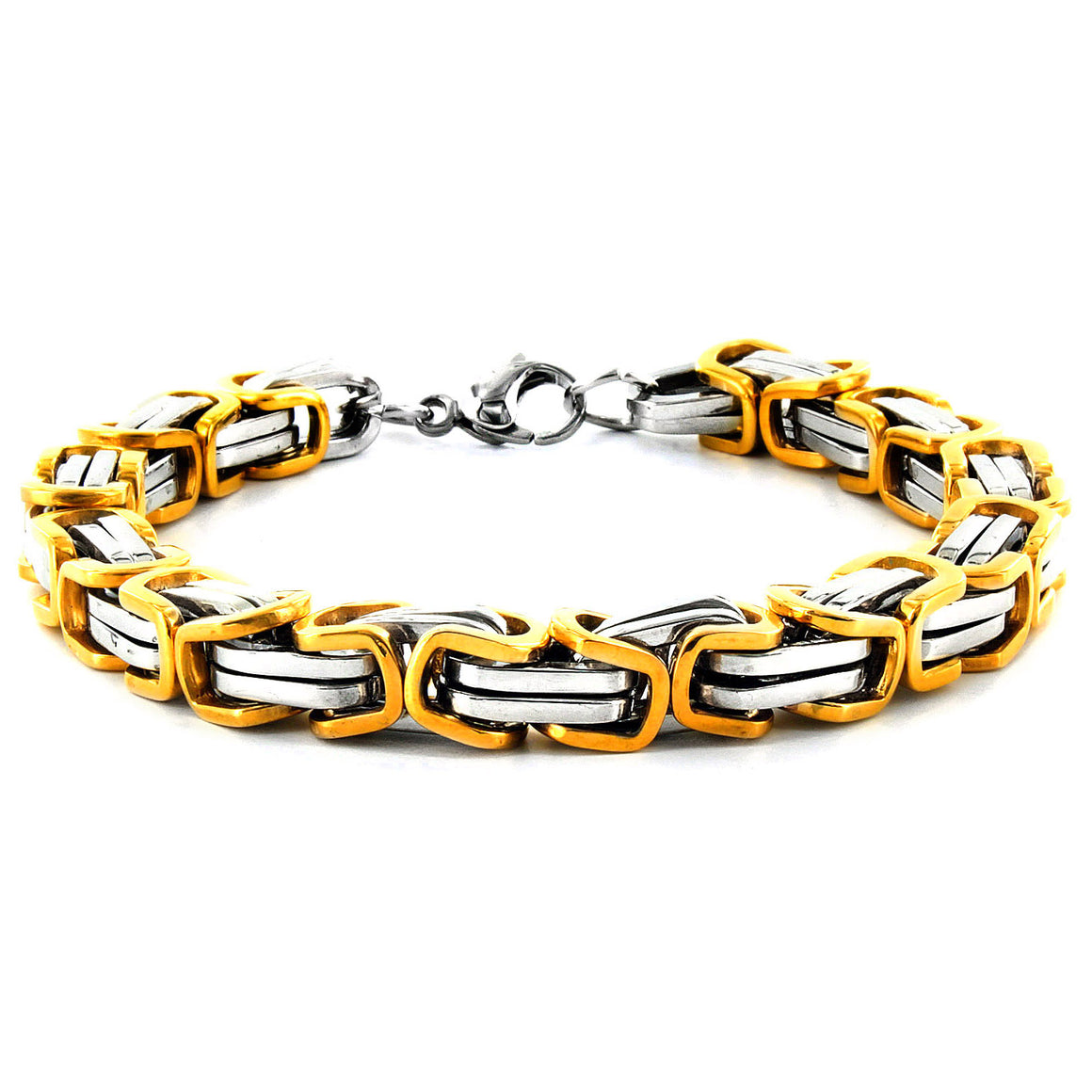 Crucible Men's Stainless Steel Polished Byzantine Chain Link Bracelet