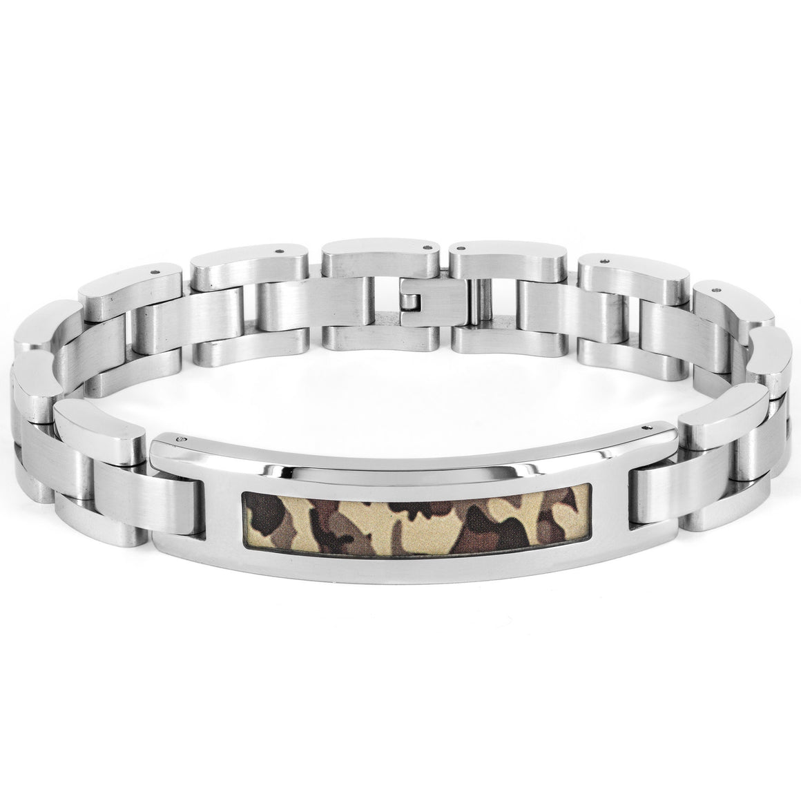 Crucible Stainless Steel Polished Green Camouflage ID Link Bracelet (12 mm) - 9""