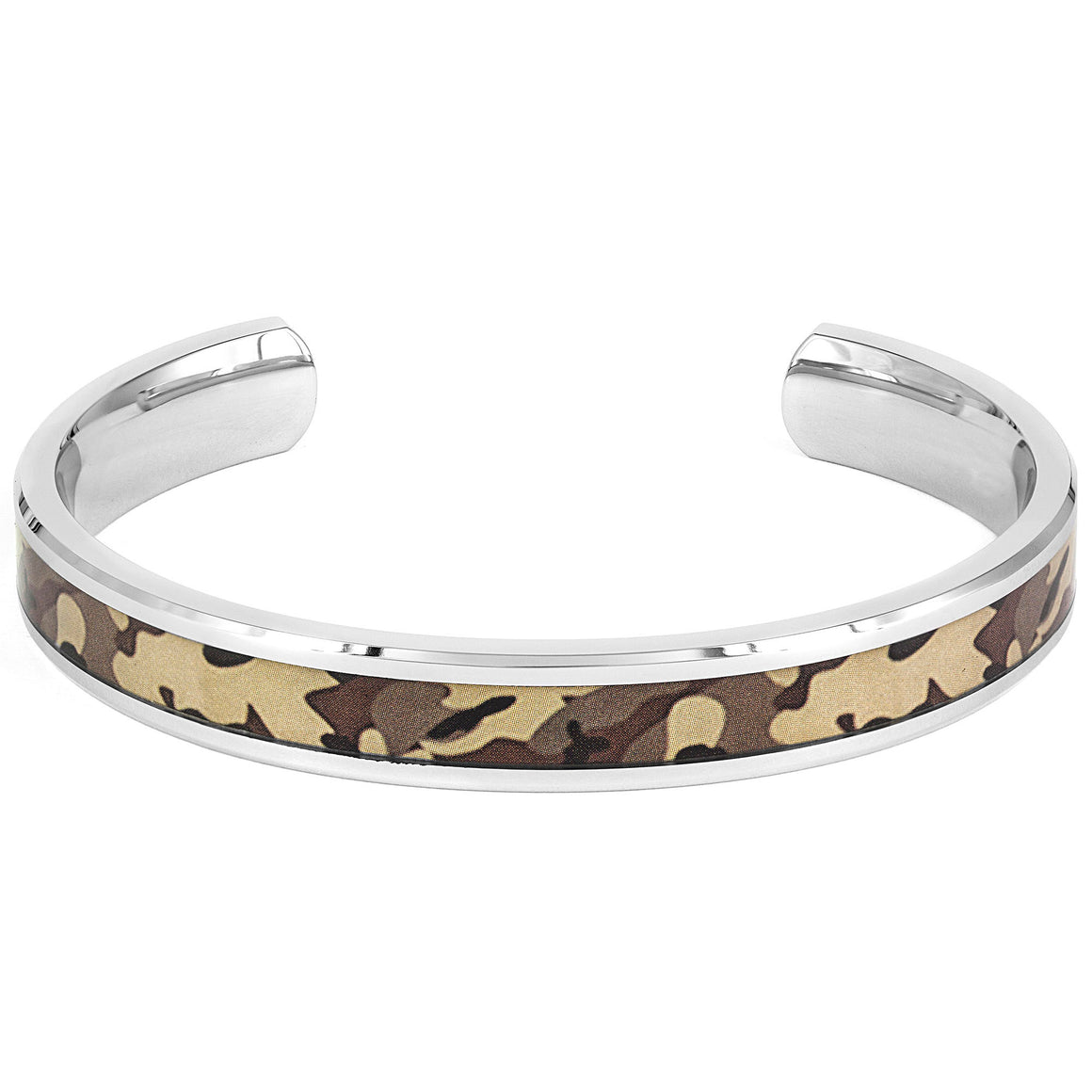 Crucible Stainless Steel Polished Green Camouflage Cuff Bracelet (10 mm) - 8""