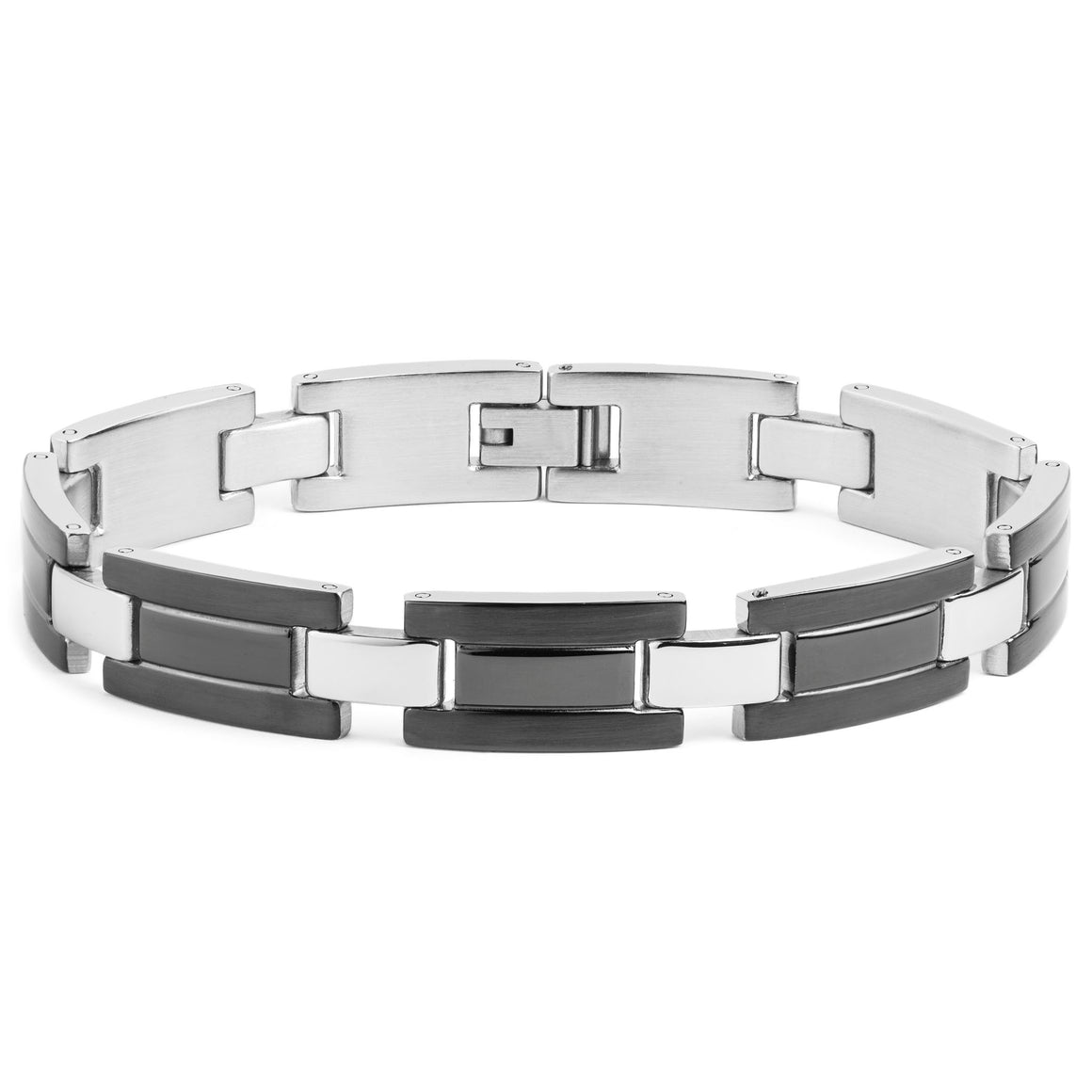 Crucible Stainless Steel Brushed and Polished Double Groove Link Bracelet (12 mm) - 8.75""