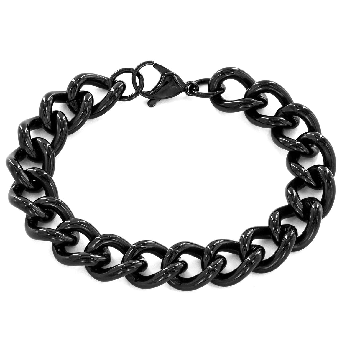 Crucible Stainless Steel Polished Classic Curb Chain Link Bracelet (4 mm) - 8.5""
