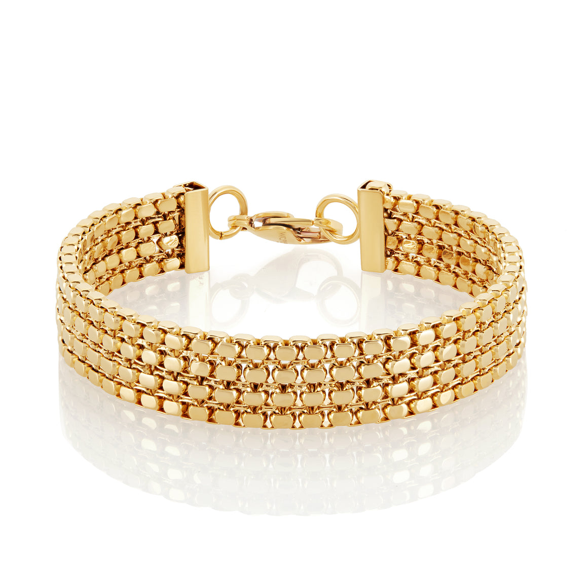 High Polish Gold IP Box Chain Stainless Steel Bracelet