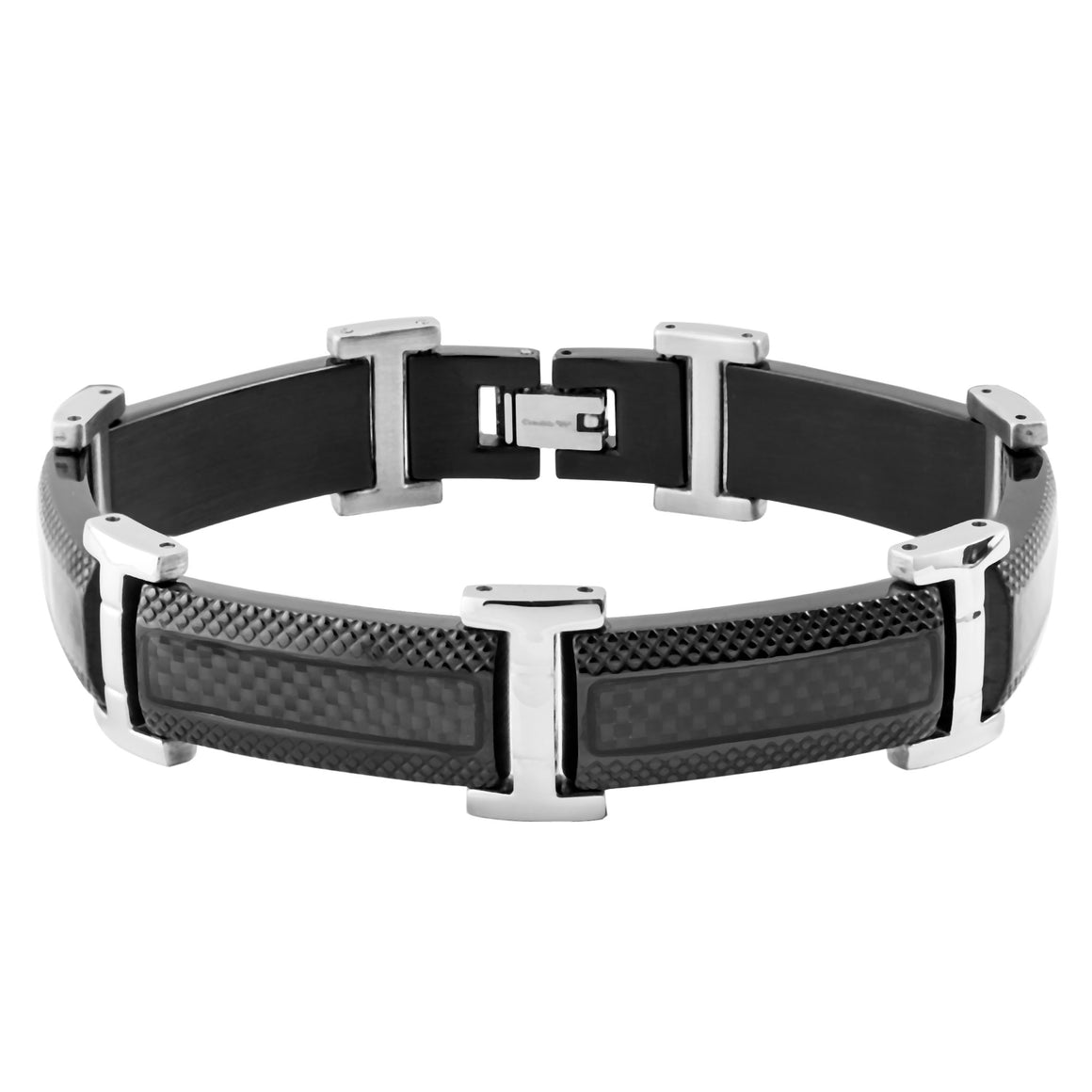 Crucible Black IP Stainless Steel Carbon Fiber Inlay Textured Link Bracelet (17 mm) - 8.5""