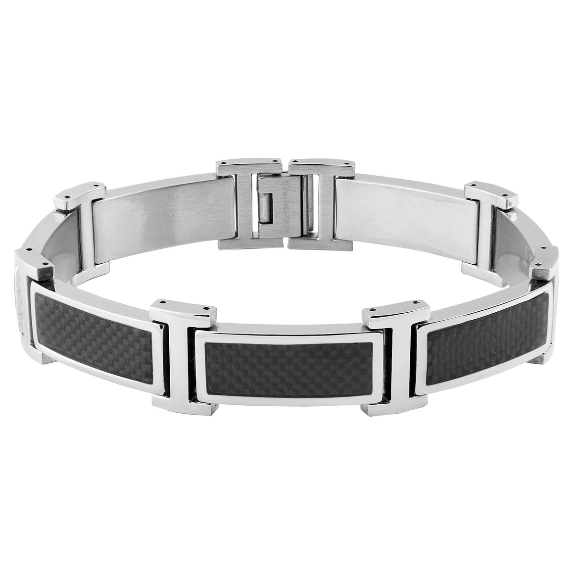 Crucible Stainless Steel Black Carbon Fiber Inlay Link Bracelet (17 mm) - 8.5""