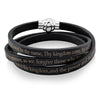 Crucible Men's Stainless Steel Lord's Prayer Wrap Leather Bracelet