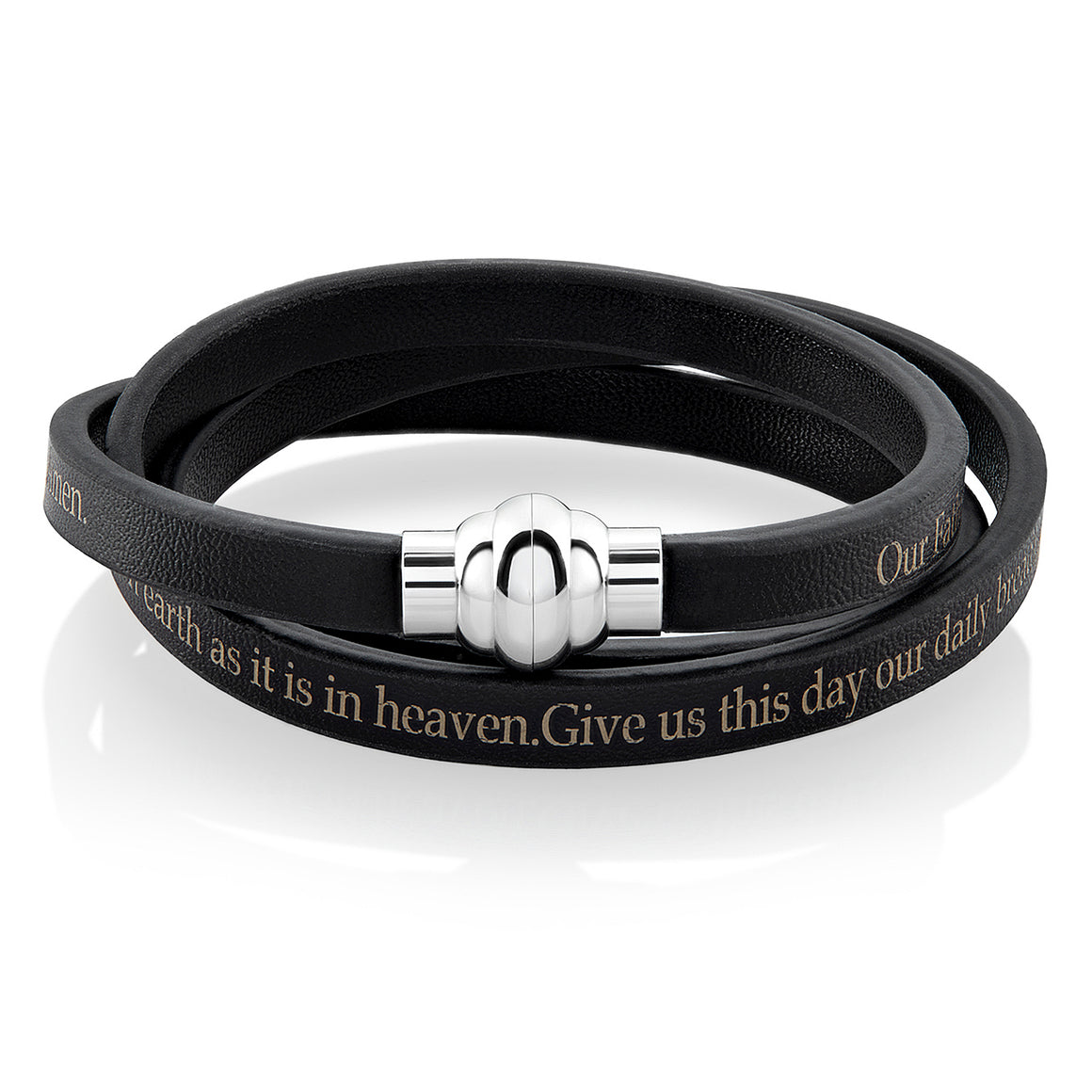 Crucible Men's or Women's Leather Lord's Prayer Wrap Bracelet with Magnet Clasp