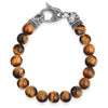 Crucible Men's Polished Stone Beaded Bracelet with Antiqued Stainless Steel Clasp