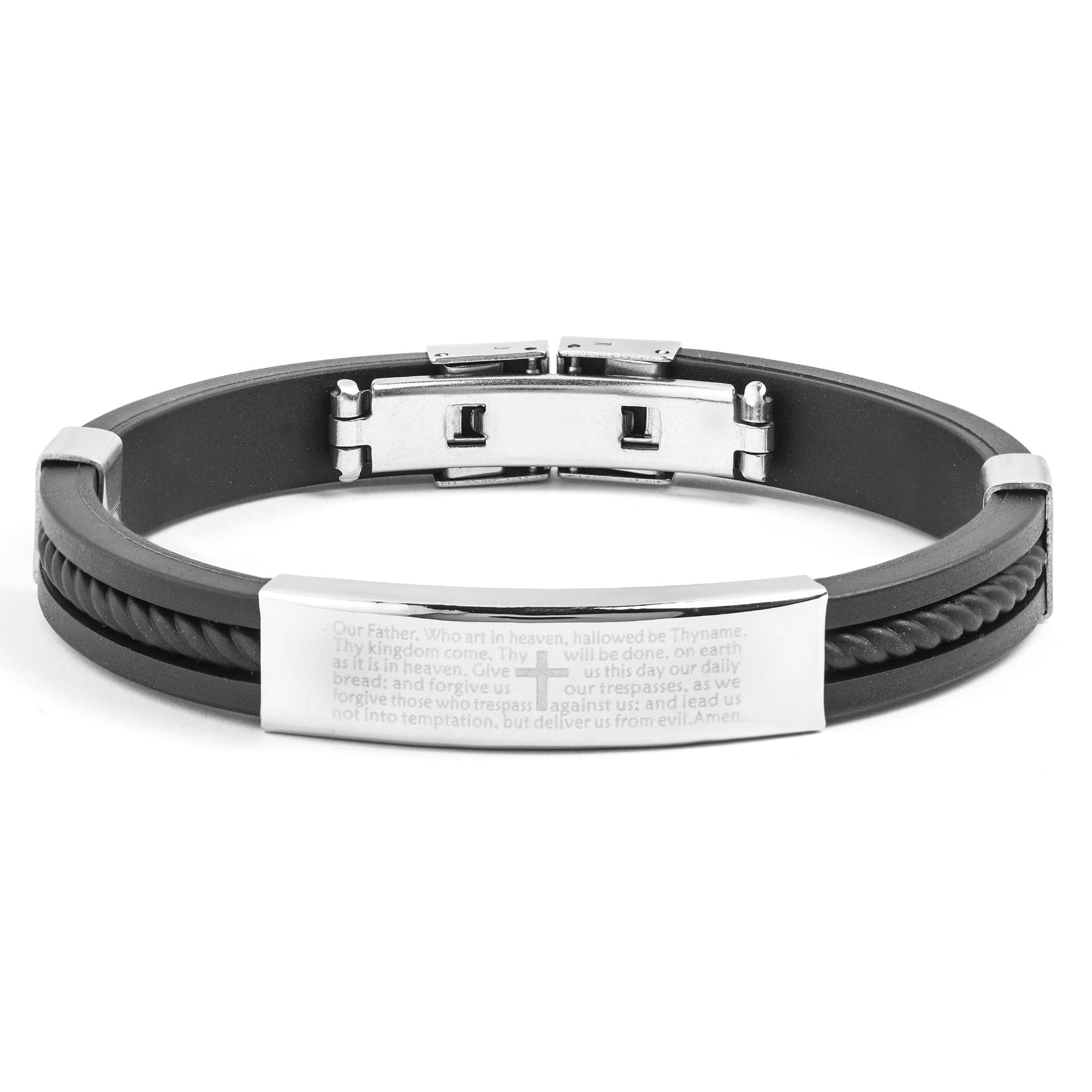 Crucible Men's Stainless Steel Polished Lord's Prayer ID Plate Rubber  Bracelet