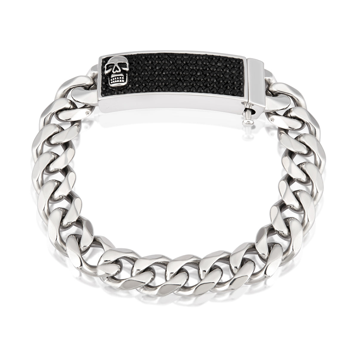 Crucible Stainless Steel Polished Crystal Skull ID Plate Curb Chain Link Bracelet (16 mm) - 9""