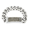 Crucible Stainless Steel Polished Crystal Cross ID Plate Curb Chain Link Bracelet (16 mm) - 9""