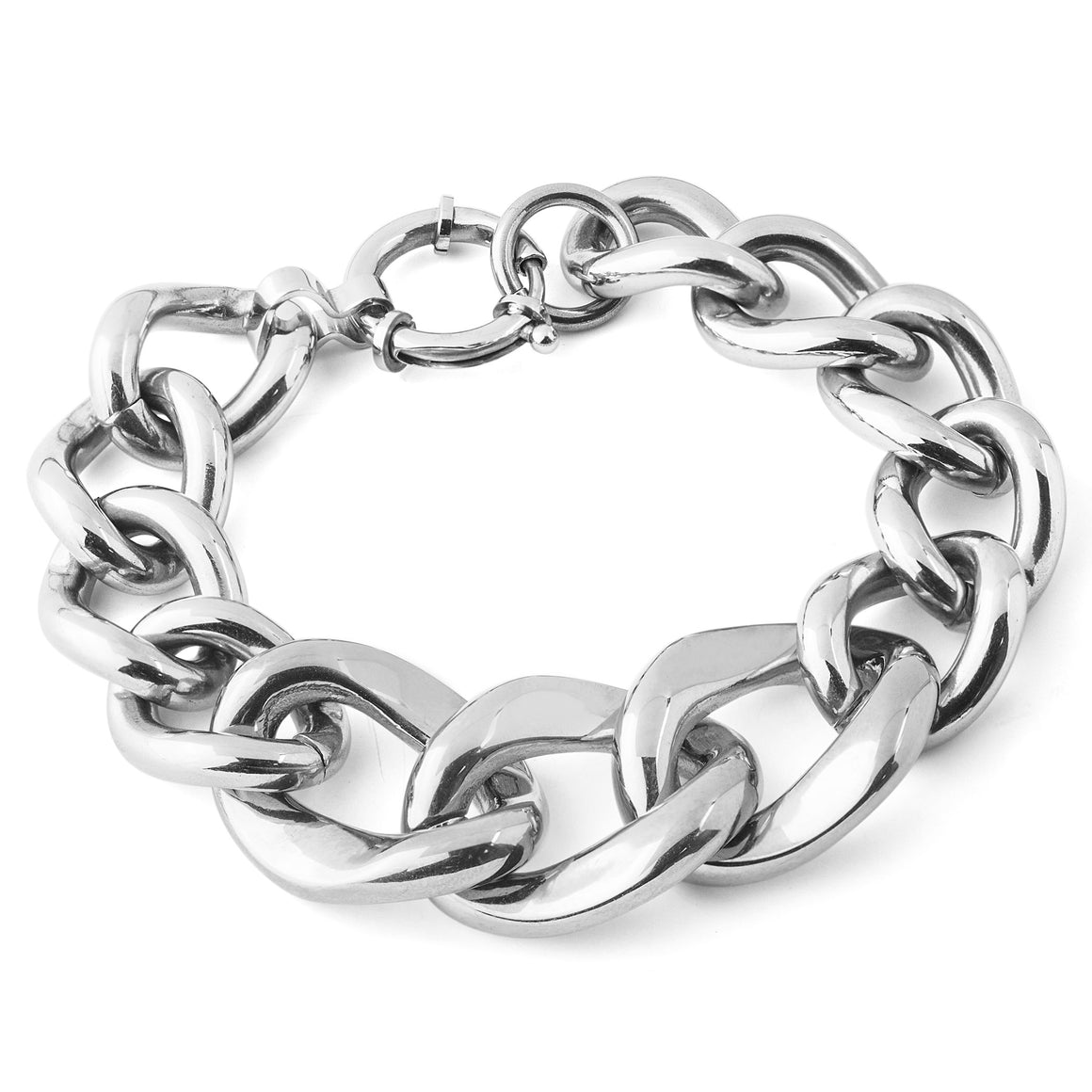 Polished Curb Chain Two-Tone Stainless Steel Link Bracelet (17.5 mm) - 7.5""
