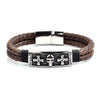 Antiqued Stainless Steel Skull ID Brown Braided Leather Bracelet (13.5mm Wide) - 8.5 Inches