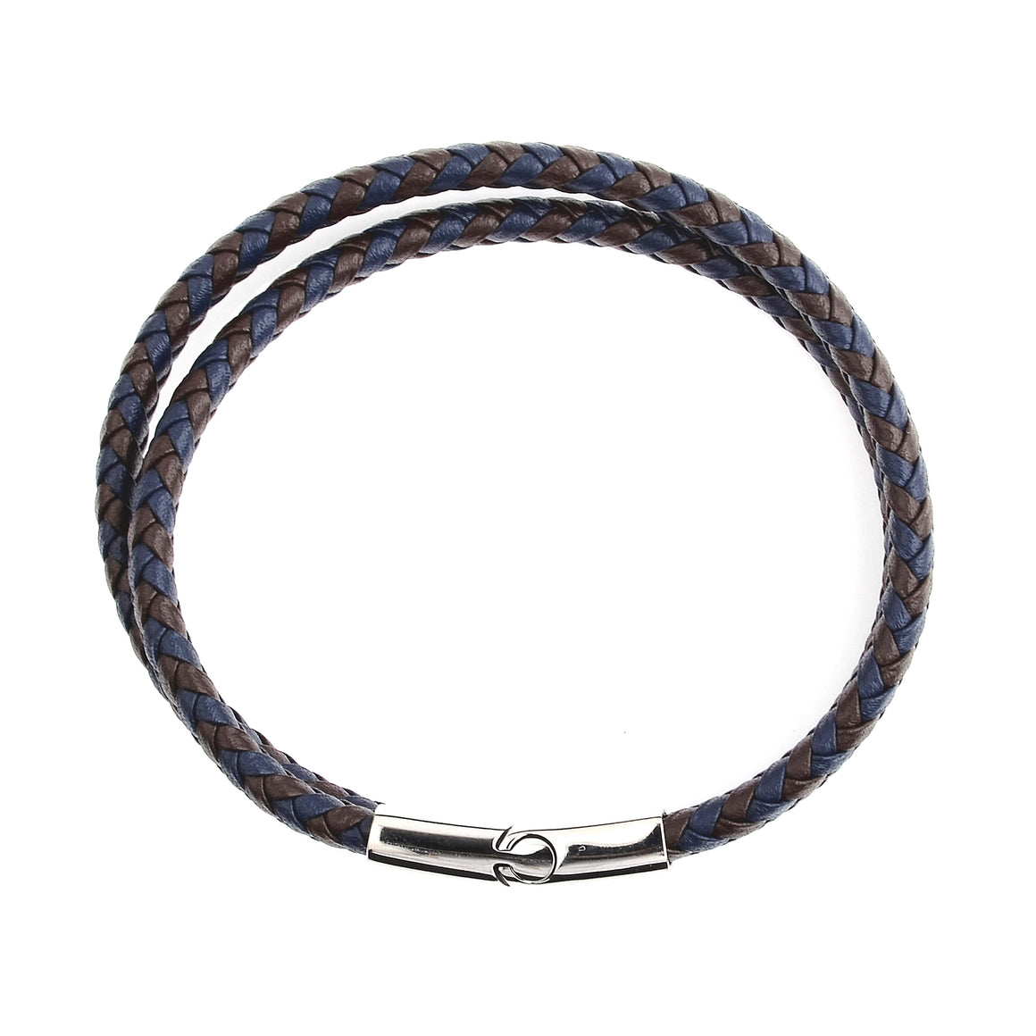 Crucible Men's Blue and Brown Braided Leather Wrap Bracelet
