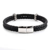 Crucible Men's Antiqued Stainless Steel Cross Accents Double Black Braided Leather Bracelet