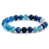 Polished Natural Stone Bead Stretch Bracelet in 13 Colors