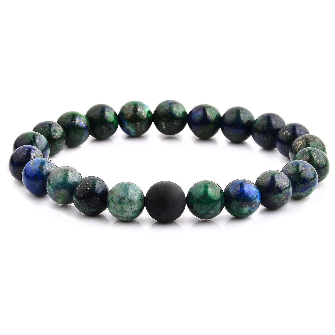 Polished Natural Stone Bead Stretch Bracelet in 12 Colors