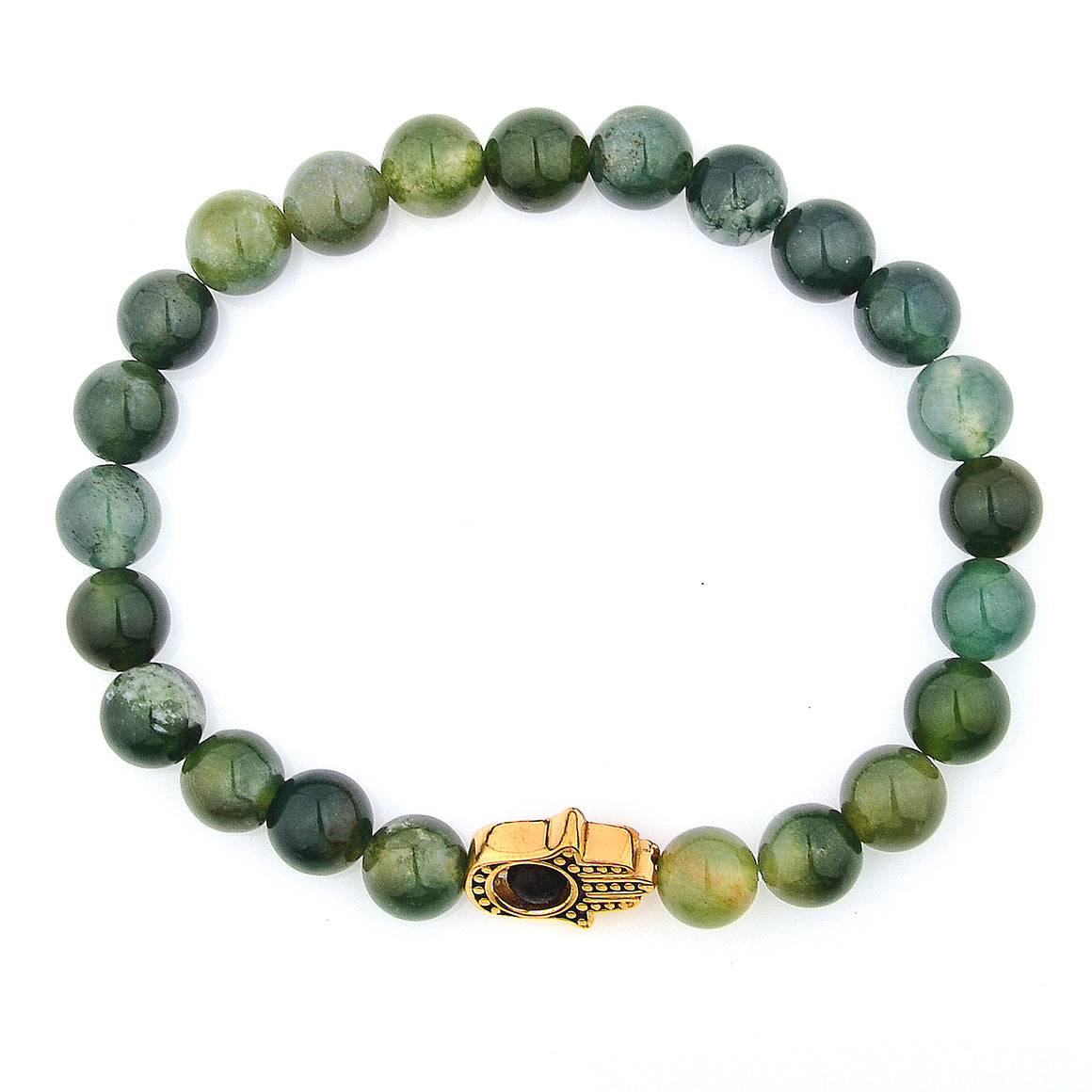 Moss Agate Stone Gold Plated Stainless Steel Hamsa Beaded Bracelet (11.5mm)