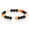 Matte Black and Orange Agate Stone Beaded Bracelet (8mm)
