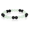 Green Quartz and Lava Stone Beaded Bracelet (8mm)