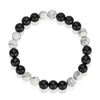 Howlite and Polished Agate Stone Beaded Bracelet (8mm)