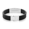 Crucible Men's High Polish Stainless Steel ID Rubber Bracelet