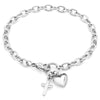 ELYA Women's Polished Heart and Cross Charm Stainless Steel Bracelet