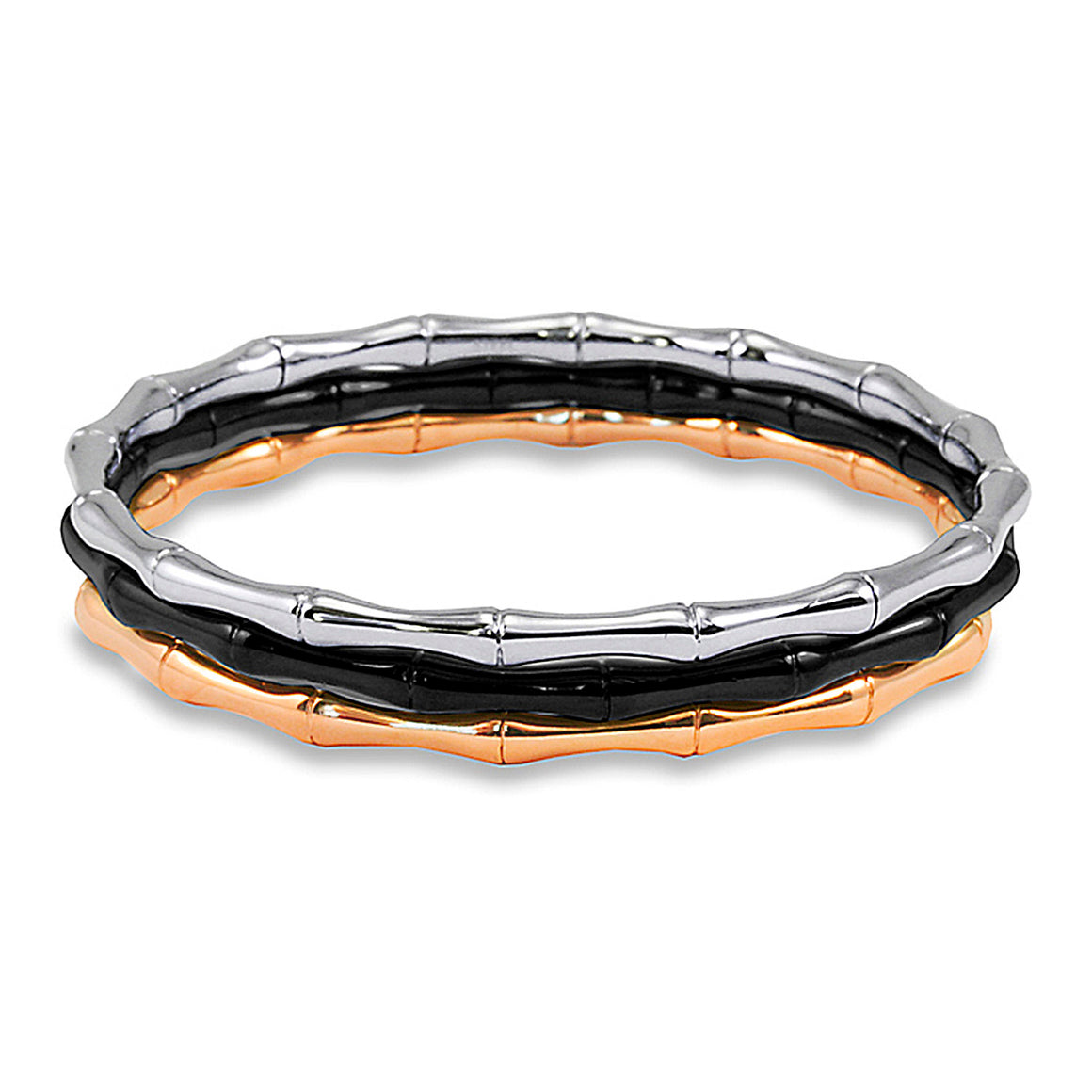 Stackable Bamboo Design Tri-Color Stainless Steel Bangle Bracelets (4 mm) - 8""