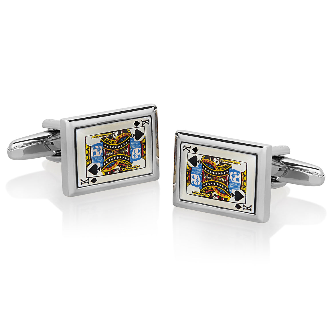 Crucible Men's High Polished King of Spades Cuff Links