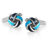 Crucible Men's High Polished Blue True Love Knot Cuff Links