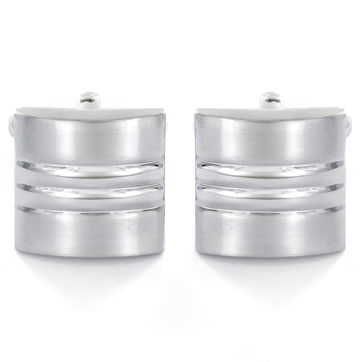 Men's Triple Grooved Square Cuff Links