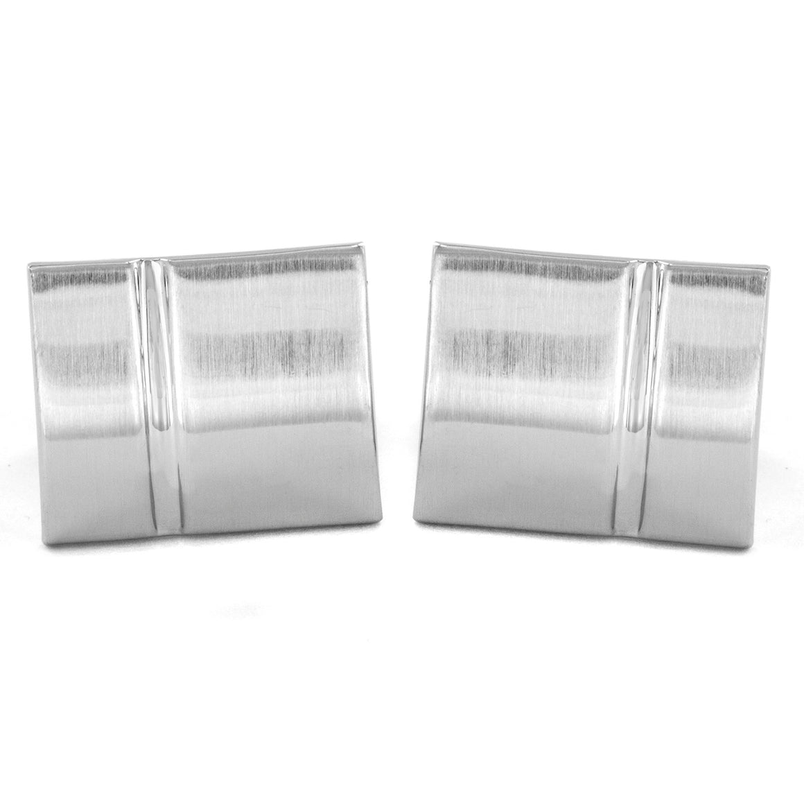 Men's Brushed and Polished Grooved Rectangle Cuff Links
