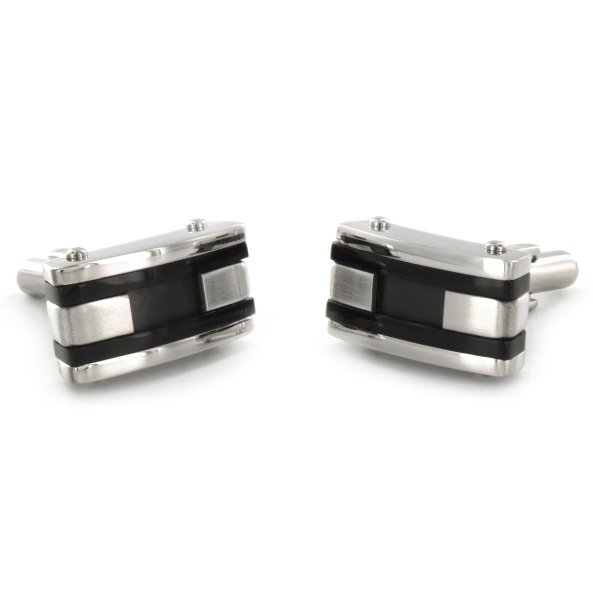 Crucible Stainless Steel Black Inlay and Black Racing Striped Cuff Links