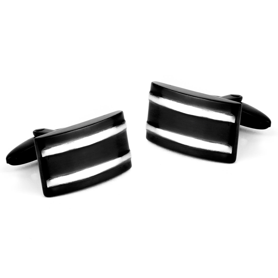 Crucible Black Plated Stainless Steel Striped Rectangular Cuff Links