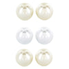ELYA Women's White Cream and Pink Freshwater Pearl Stud Stainless Steel Earrings Set