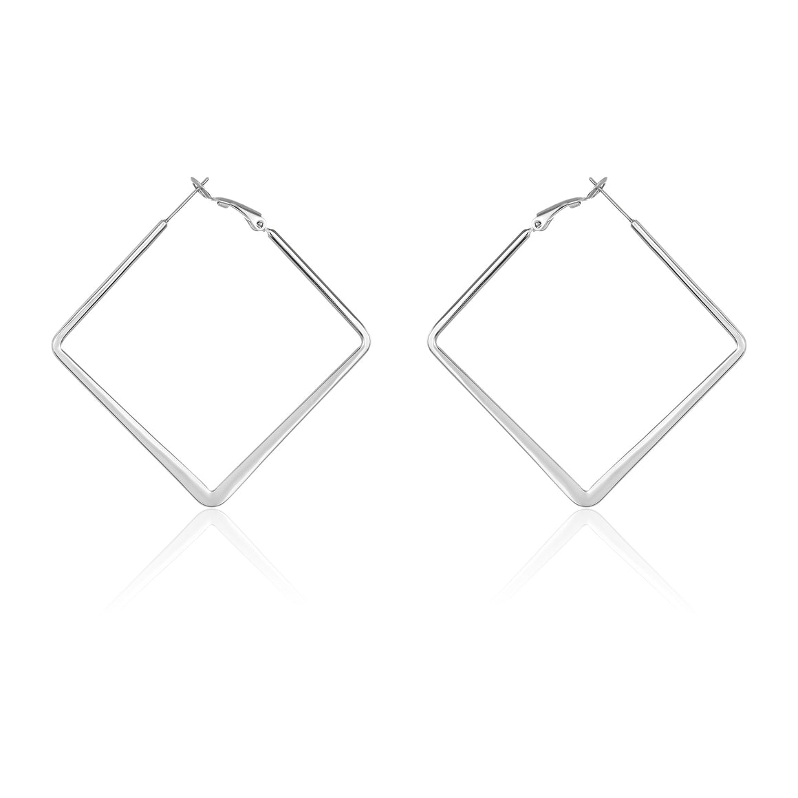 ELYA Diamond Shaped Stainless Steel Hoop Earrings