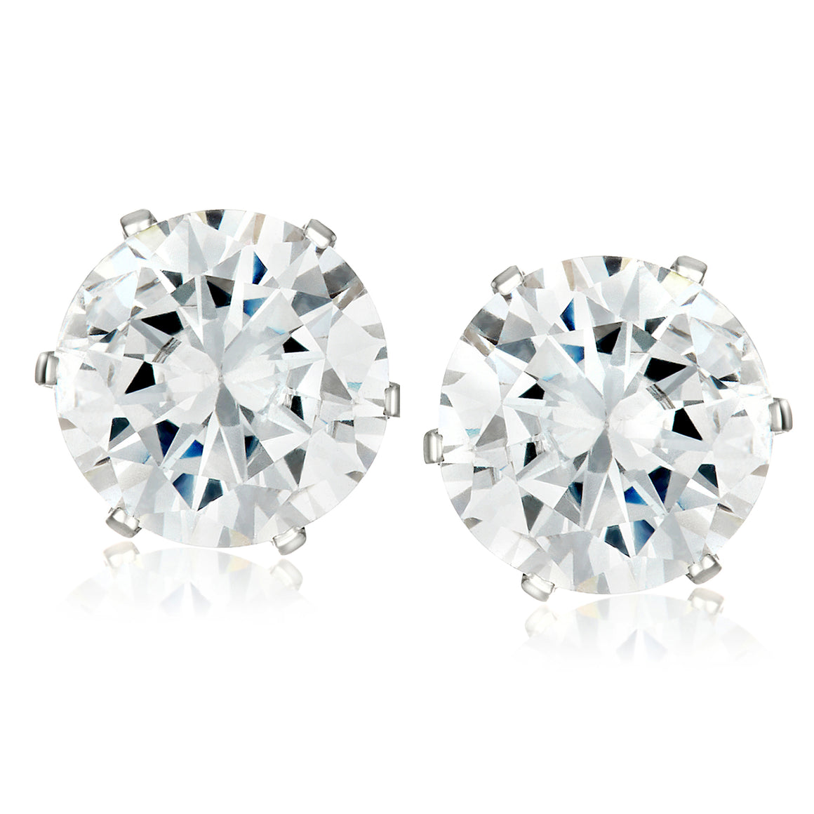 ELYA Women's Polished Prong Set Cubic Zirconia Stud Stainless Steel Earrings