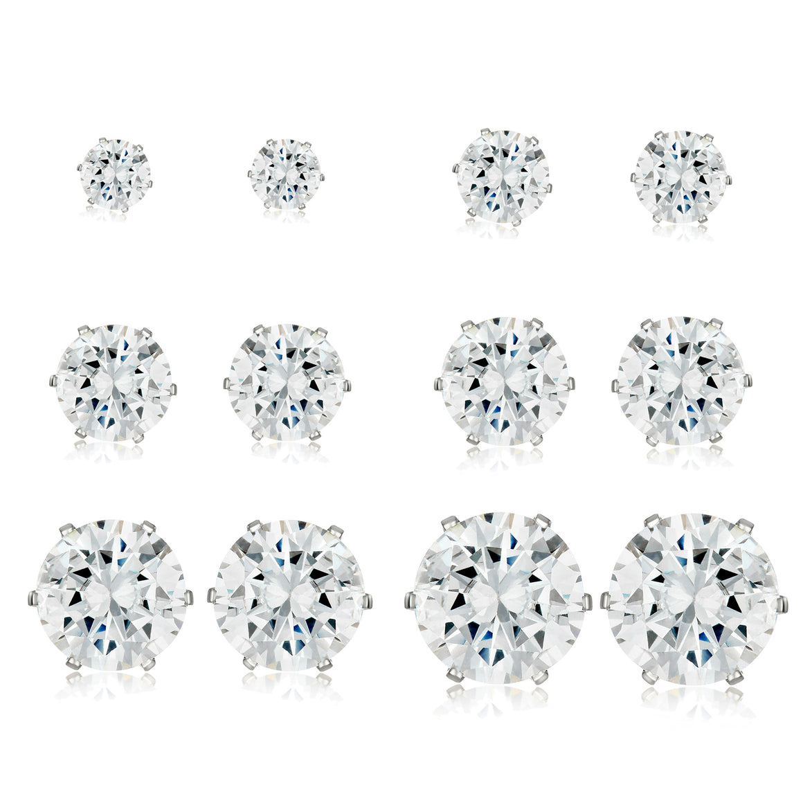 ELYA Women's High Polished Cubic Zirconia Stainless Steel Stud Earrings - 6 Pair set