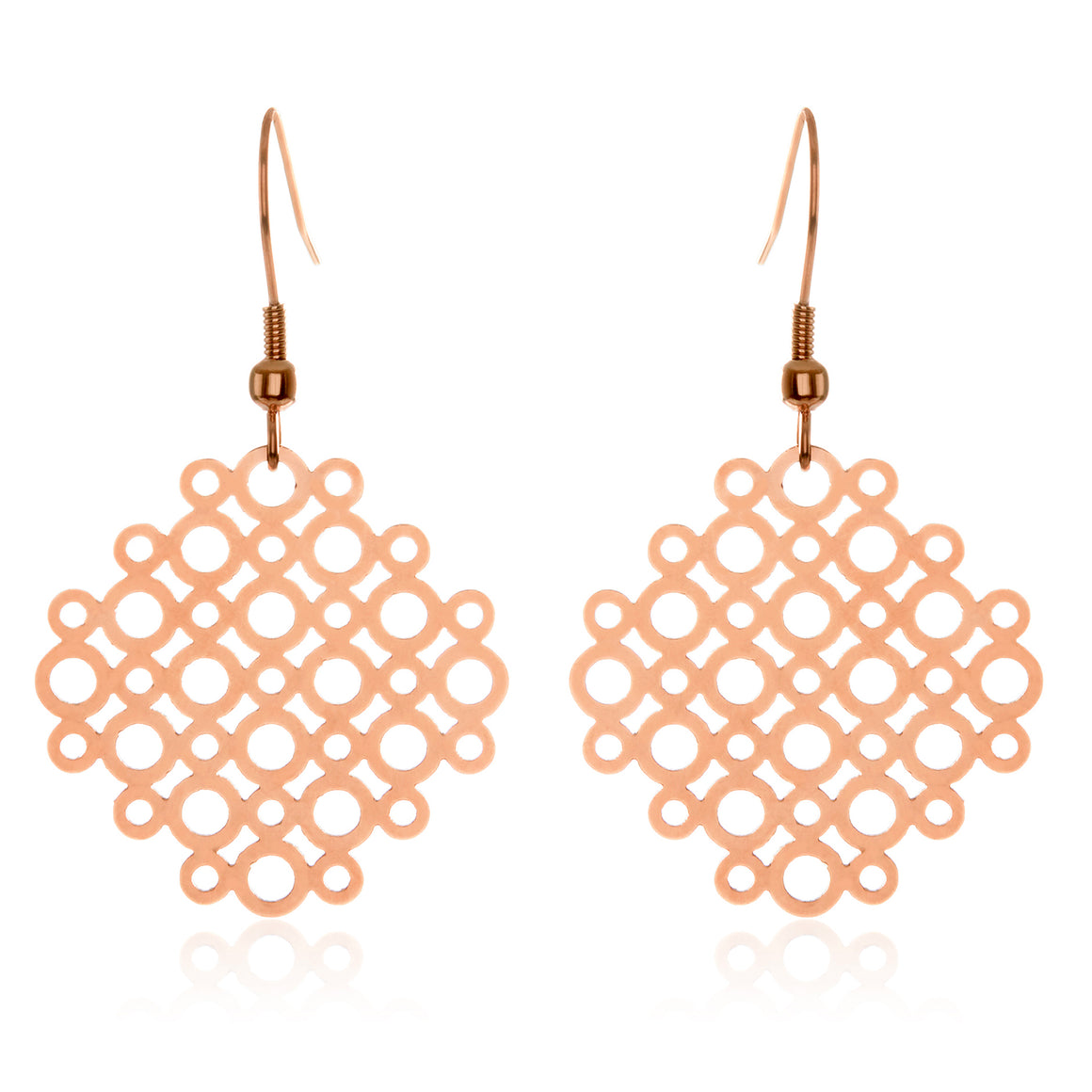 ELYA Women's Rose Gold Plated Geometric Circle Stainless Steel Dangle Earrings