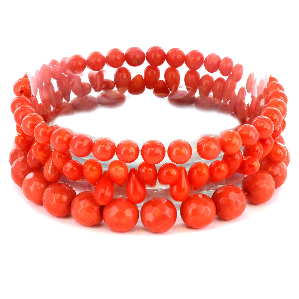 Women's Dyed Orange Coral Beaded and Multi-faceted Bracelets (Set of 3)