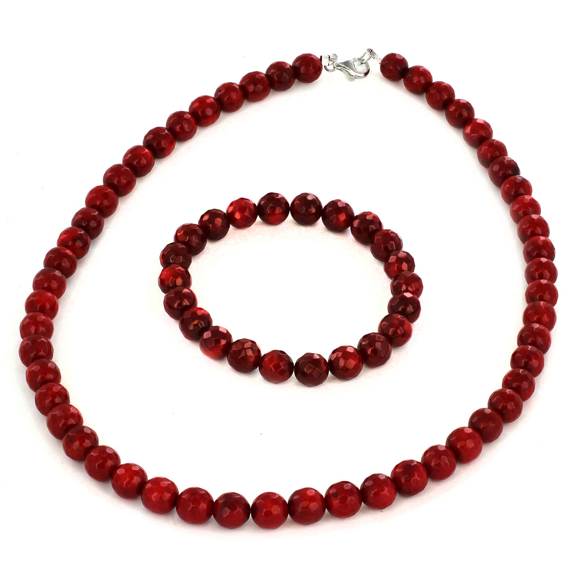 Women's Sterling Silver Red Dyed Coral Faceted Beaded Bracelet and Necklace Set